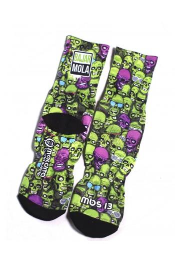 Kids Sports socks GREEN SKULLS- MBS Cross-Fit